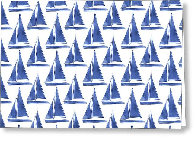 Blue And White Sailboats Pattern- Art By Linda Woods Greeting Card by Linda Woods