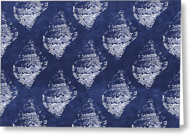 Blue And White Seashells 1- Art By Linda Woods Greeting Card
