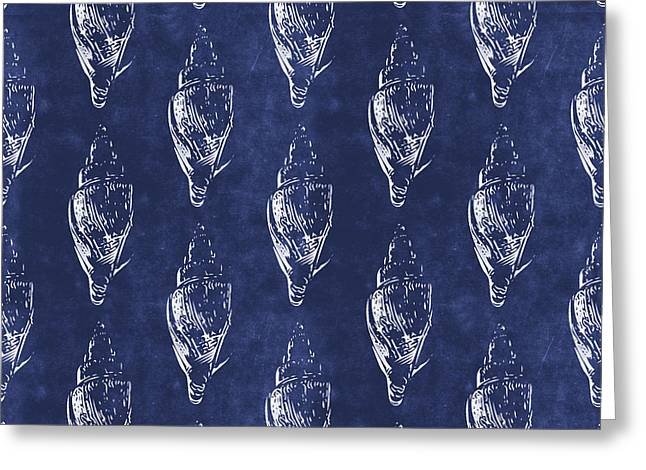 Blue And White Seashells 2- Art By Linda Woods Greeting Card