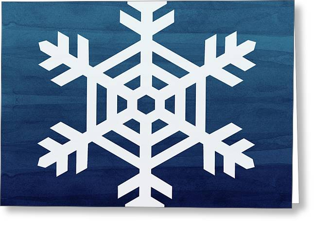 Blue And White Snowflake- Art By Linda Woods Greeting Card