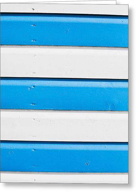 Blue And White Wood Greeting Card by Tom Gowanlock