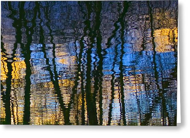 Blue And Yellow Abstract Reflections Greeting Card by Pixie Copley