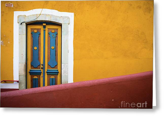 Blue And Yellow Door Greeting Card by Inge Johnsson