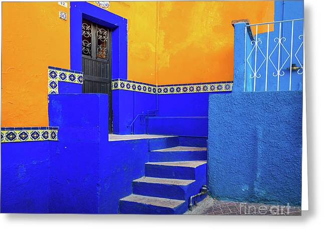 Blue And Yellow House Greeting Card by Inge Johnsson