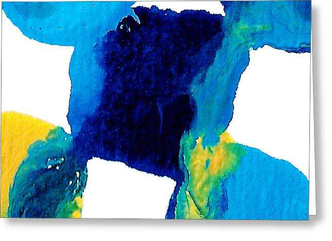 Blue And Yellow Sea Interactions  Greeting Card
