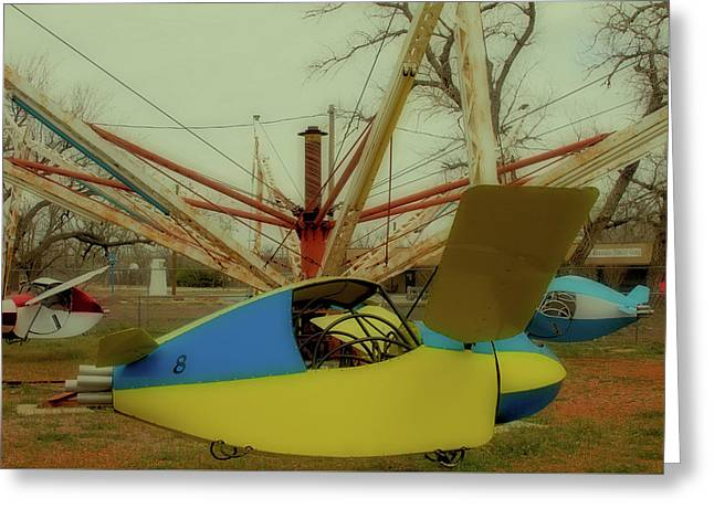 Blue And Yellow Plane Ride Greeting Card by Tony Grider
