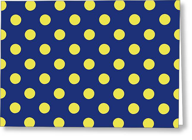 Blue And Yellow Polka Dots- Art By Linda Woods Greeting Card by Linda Woods