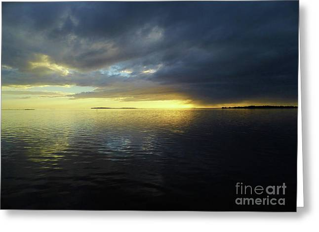 Blue And Yellow Sunset Greeting Card by D Hackett