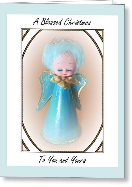 Greeting Card featuring the digital art Blue Angel Blessings by Ellen Barron O'Reilly
