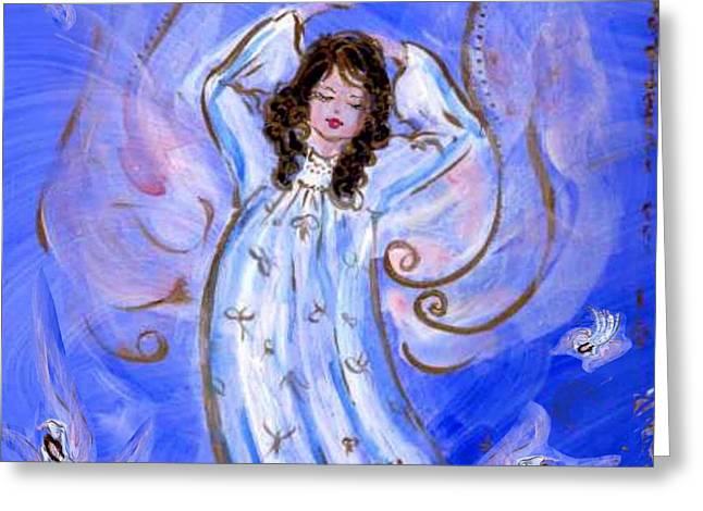 Blue Angel Waking Greeting Card by Rosemary Babikan
