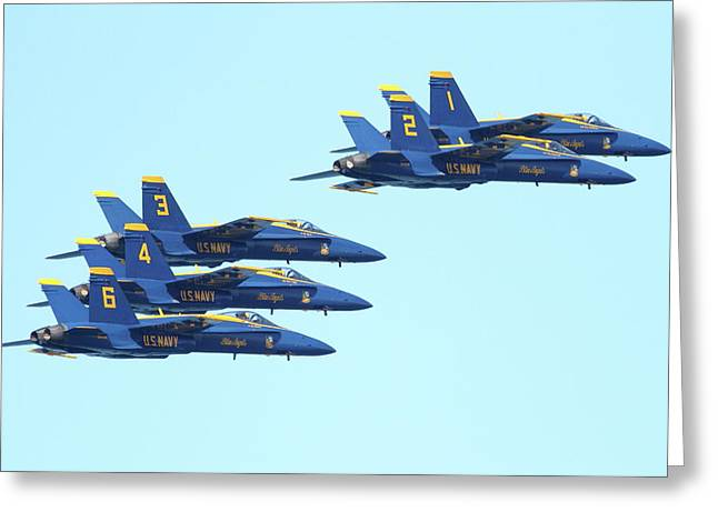 Jet Greeting Cards - Blue Angels 5 Team Formation 3 Greeting Card by Wingsdomain Art and Photography