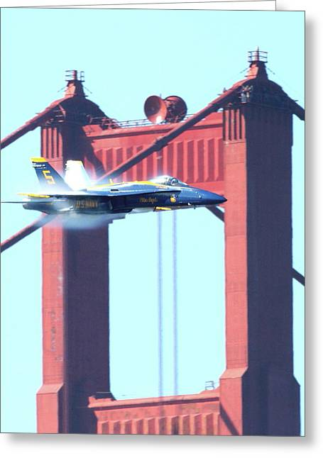 Jet Greeting Cards - Blue Angels Crossing the Golden Gate Bridge 9 Greeting Card by Wingsdomain Art and Photography