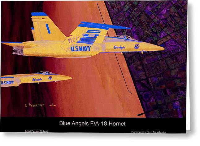 F-18 Paintings Greeting Cards - Blue Angels Greeting Card by Dennis Vebert