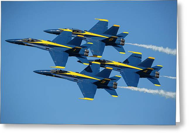 Greeting Card featuring the photograph Blue Angels Diamond Formation by Adam Romanowicz