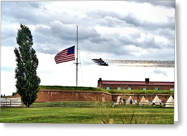 Blue Angels Fly Over Fort Mc Henry 2014 Greeting Card by Wayne Higgs