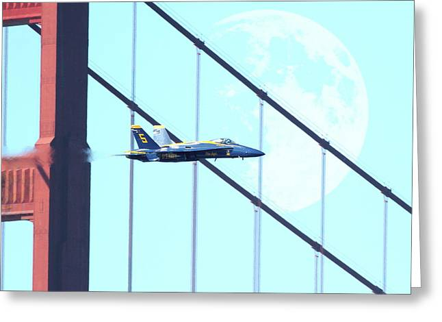 Angel Blues Digital Art Greeting Cards - Blue Angels Golden Gate and Moon Greeting Card by Wingsdomain Art and Photography