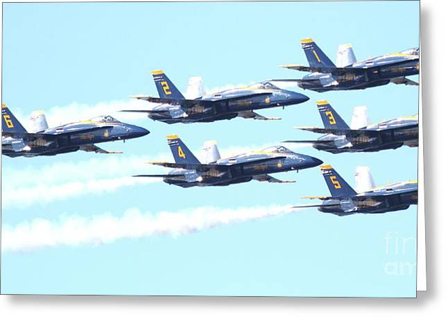 Jet Greeting Cards - Blue Angels Hornet F18 Supersonic Jet Airplane . 7D2672 Greeting Card by Wingsdomain Art and Photography
