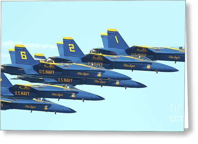 Jet Greeting Cards - Blue Angels Hornet F18 Supersonic Jet Airplane . 7D2678 Greeting Card by Wingsdomain Art and Photography