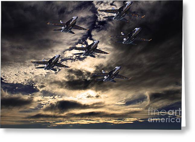 F-18 Greeting Cards - Blue Angels In The Sky Greeting Card by Wingsdomain Art and Photography