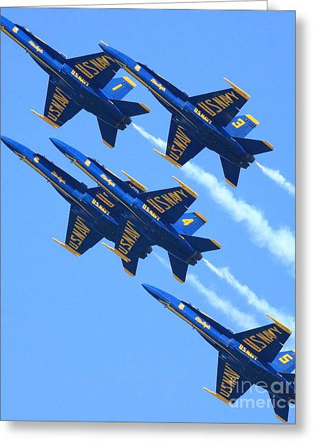 Blue Angels Leaving A White Trail Greeting Card by Wingsdomain Art and Photography