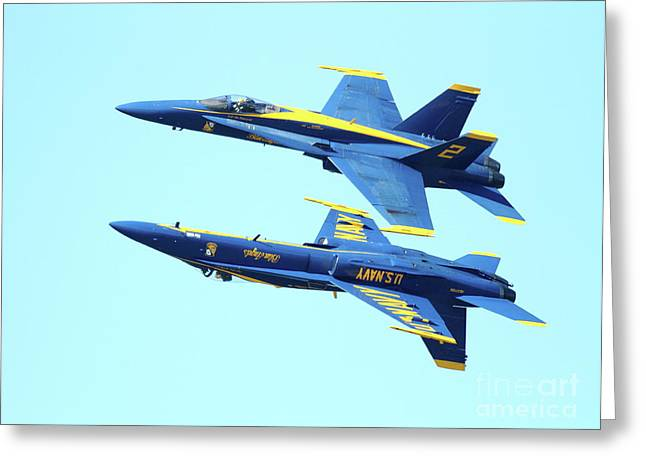 Blue Angels Mirroring Greeting Card by Wingsdomain Art and Photography