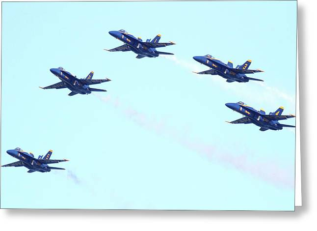 Jet Greeting Cards - Blue Angels Pyramid Formation Greeting Card by Wingsdomain Art and Photography