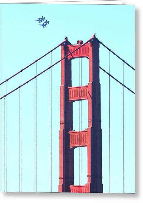 Brdige Greeting Cards - Blue Angels Soaring Above the Golden Gate Bridge Greeting Card by Wingsdomain Art and Photography