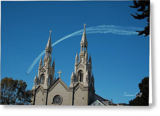 Blue Angels Soaring Greeting Card by Suzanne Gaff