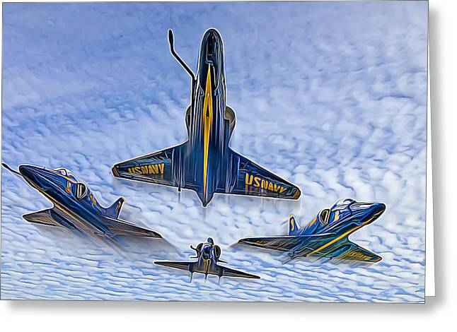 Blue Angels V.2 Electric Edition Greeting Card by Tim Stanley