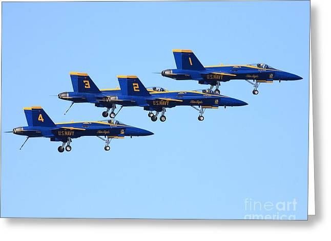 Blue Angels With Landing Gear Down Greeting Card by Wingsdomain Art and Photography