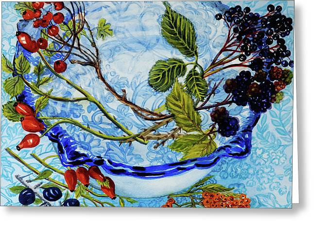 Blue Antique Bowl With Berries Greeting Card by Joan Thewsey