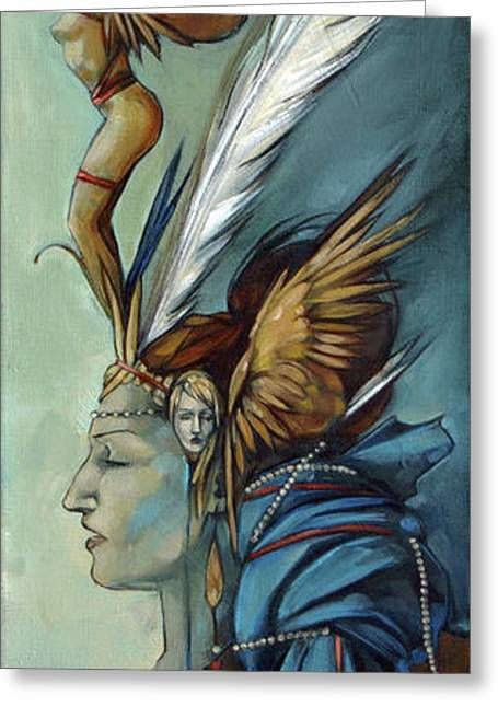 Blue Art Deco Indian Headdress Hood Ornamental Greeting Card by Jacque Hudson