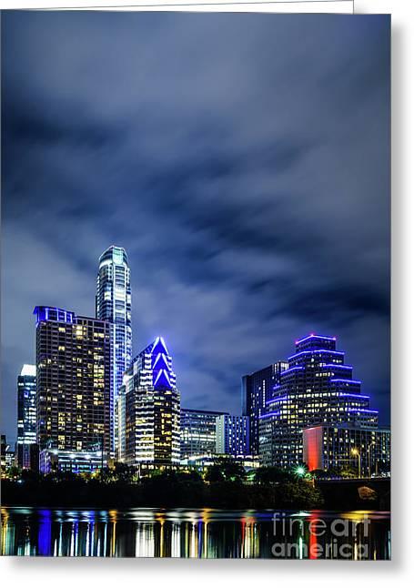 Blue Austin Skyline At Night Greeting Card