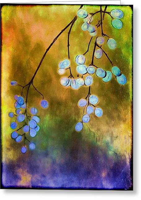 Judi Bagwell Greeting Cards - Blue Autumn Berries Greeting Card by Judi Bagwell
