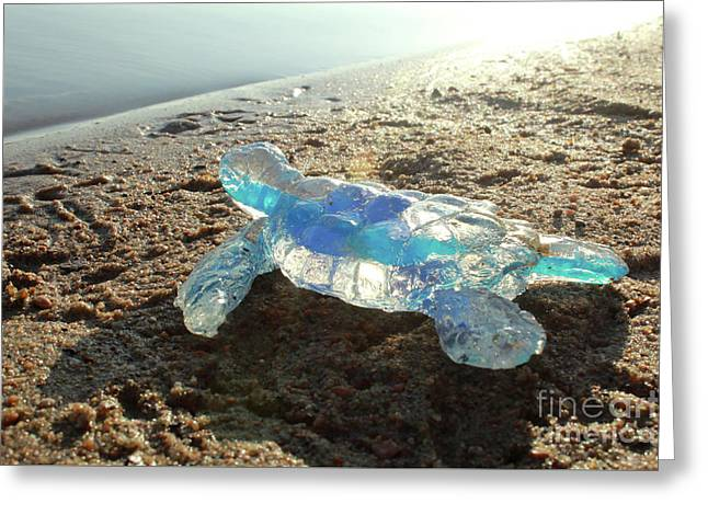 Blue Baby Sea Turtle From The Feral Plastic Series By Adam Long  Greeting Card