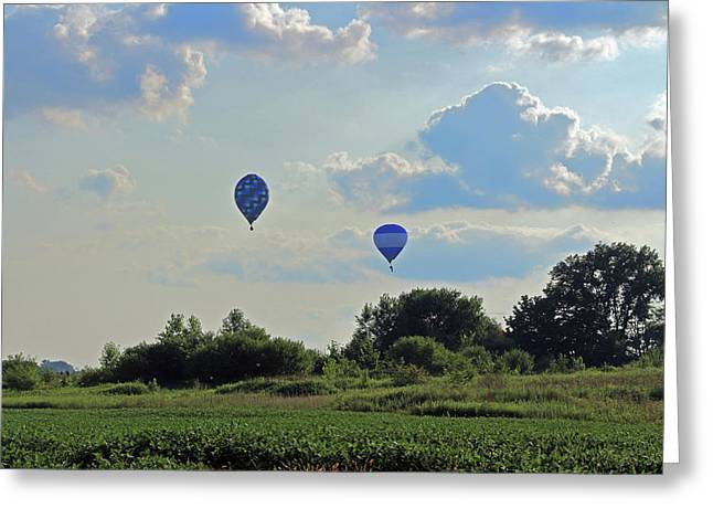 Greeting Card featuring the photograph Blue Balloons Over A Field by Angela Murdock