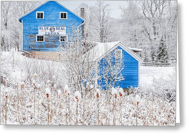 Blue Barns Square Greeting Card by Bill Wakeley