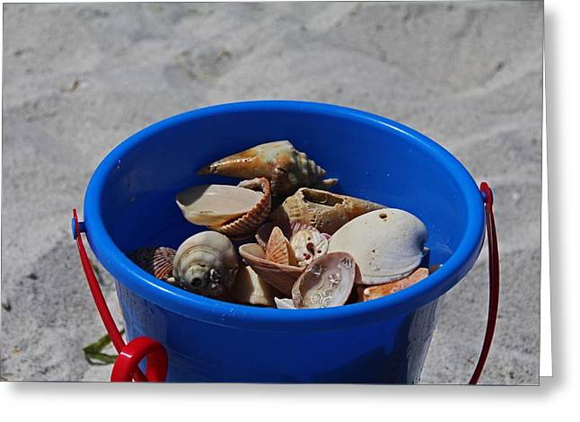 Greeting Card featuring the photograph Blue Beach Bucket by Michiale Schneider