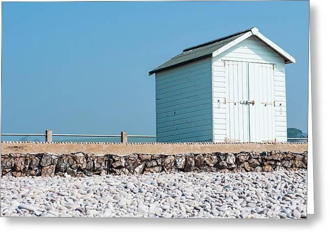Blue Beach Hut Greeting Card