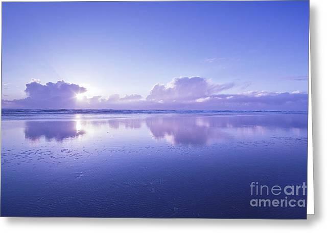 Blue Beach Greeting Card by Masako Metz