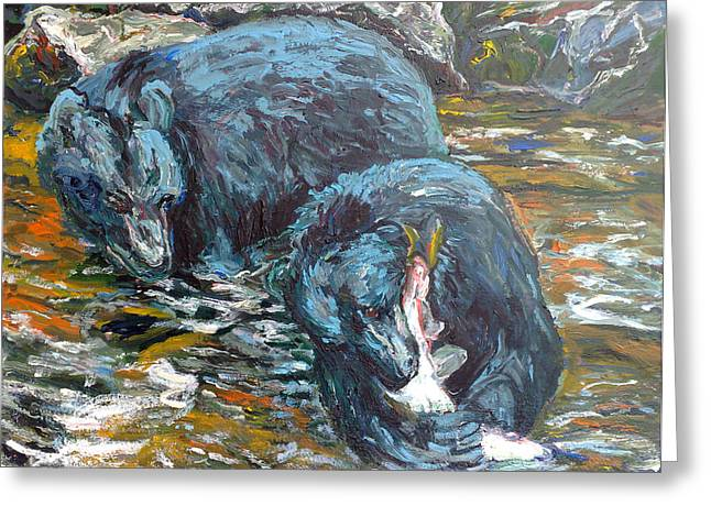 Greeting Card featuring the painting Blue Bears Fishing by Koro Arandia