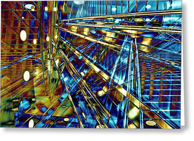 Greeting Card featuring the digital art Blue Berlin Sound by Silva Wischeropp