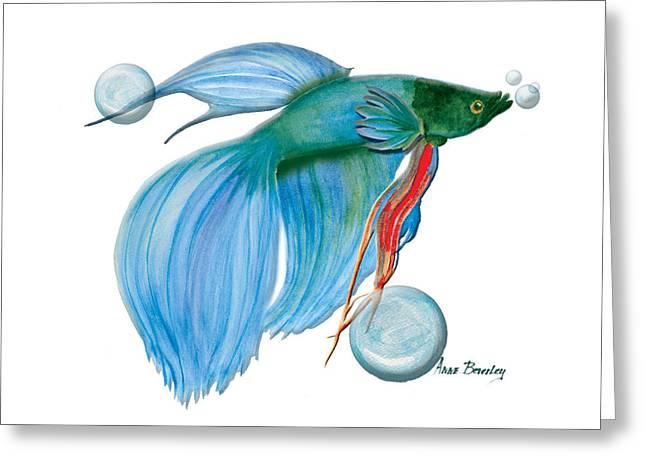 Blue Beta Fish Greeting Card