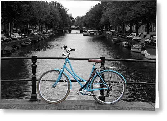 Blue Bicycle By The Canal Greeting Card by Aidan Moran