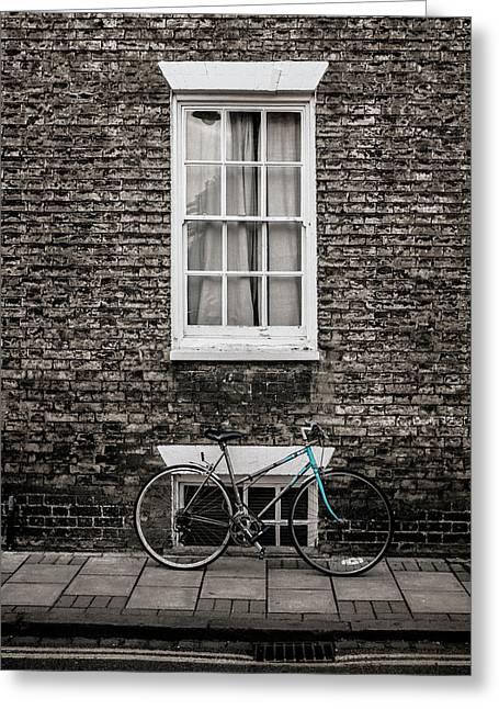 Blue Bicycle, Cambridge, England Greeting Card