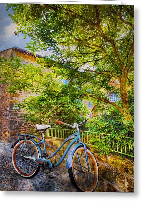 Blue Bicycle Greeting Card by Debra and Dave Vanderlaan