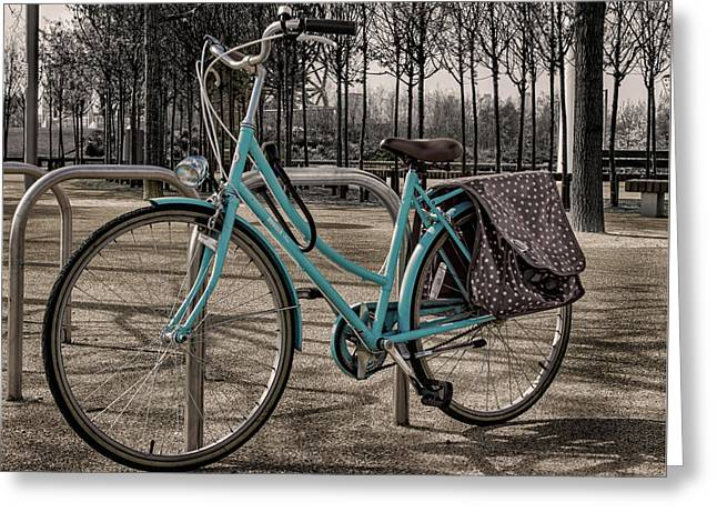 Blue Bicycle Greeting Card by Martin Newman