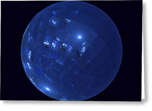 Blue Big Sphere With Squares Greeting Card