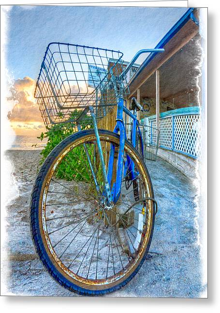 Jupiter Island Greeting Cards - Blue Bike Greeting Card by Debra and Dave Vanderlaan