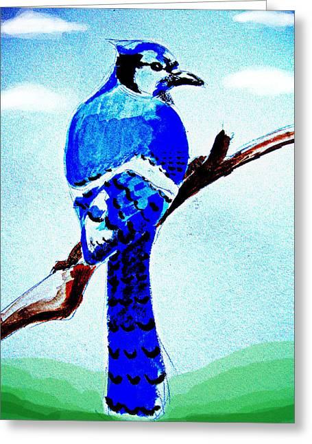 Blue Bird Greeting Card by Alfredo Lozano